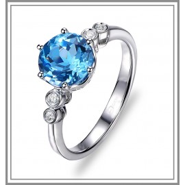 Blue Topaz Solitaire Ring with Diamonds